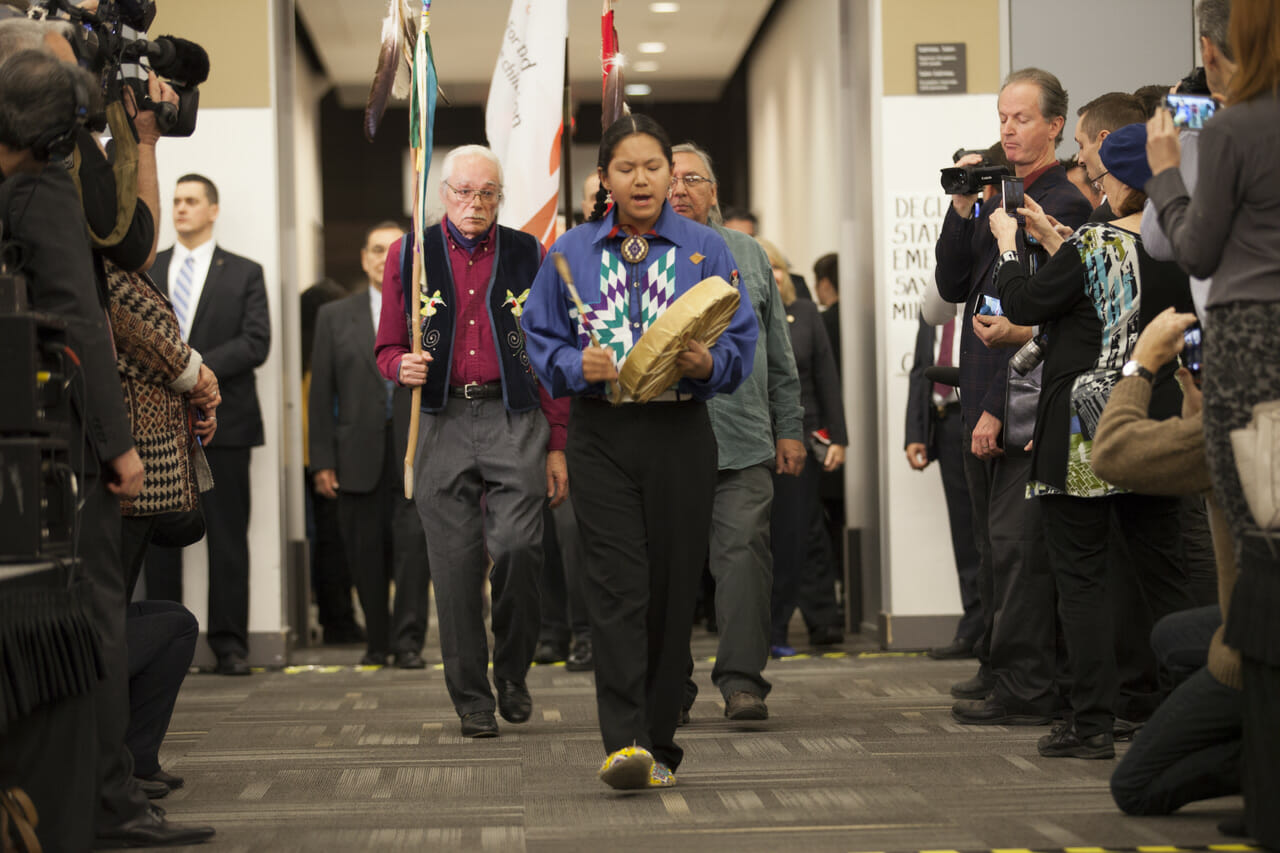 Group of people walking into TRC of Canada's Closing Ceremony