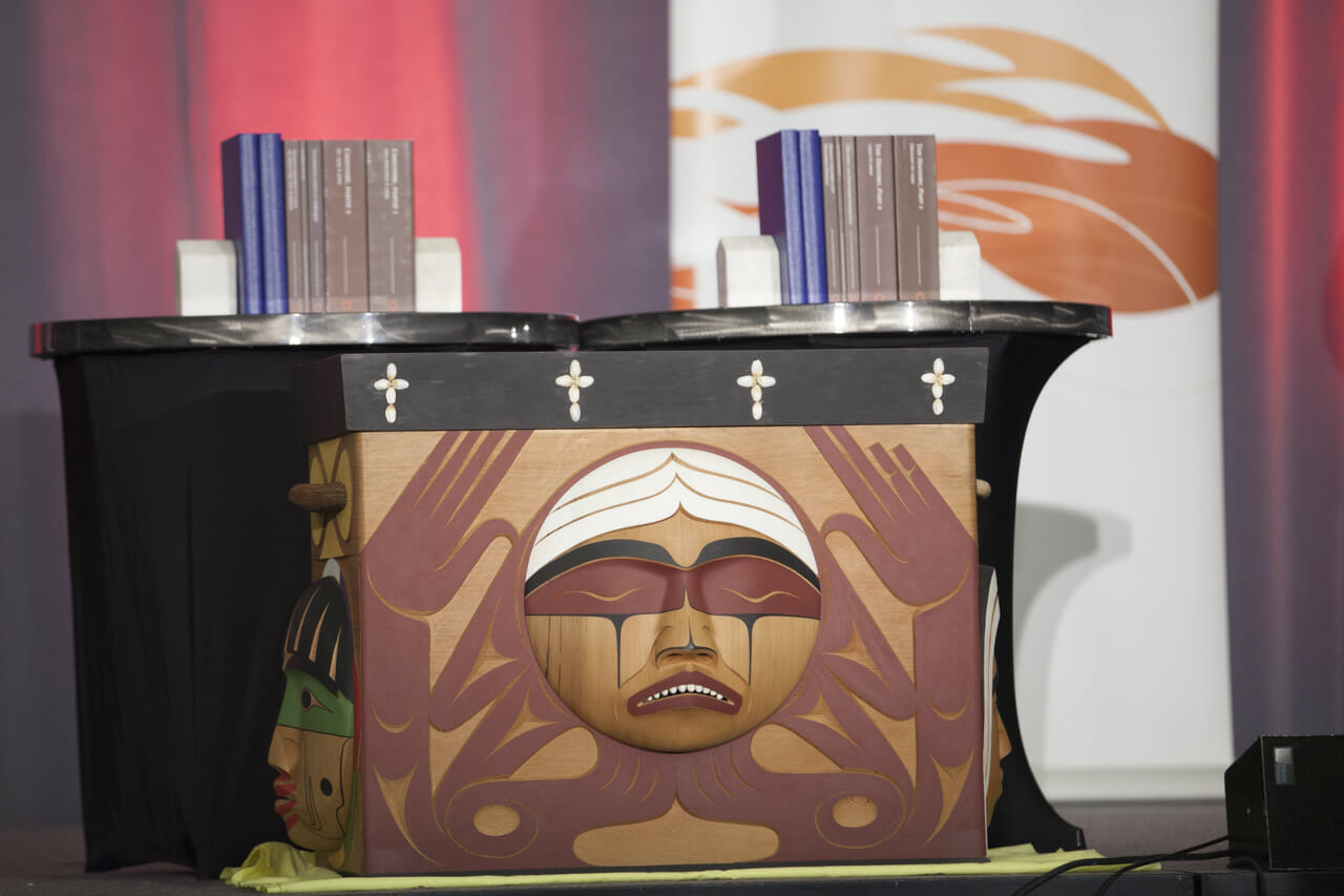 Bentwood Box on stage at TRC of Canada's of Closing Ceremony
