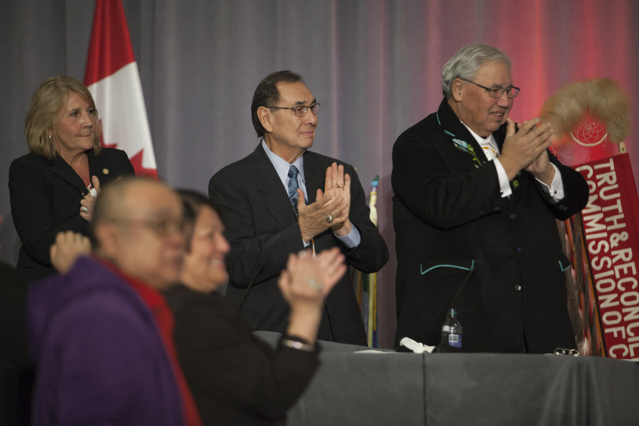 People standing on stage at TRC of Canada's Closing Ceremony
