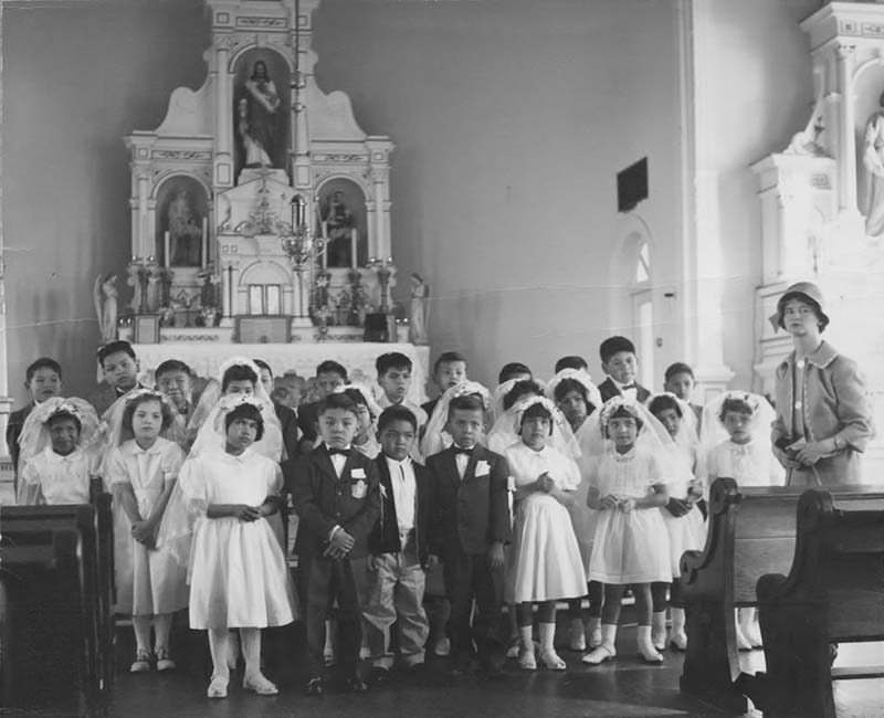 group of students standing in church from Sechelt St. Augustines Scho