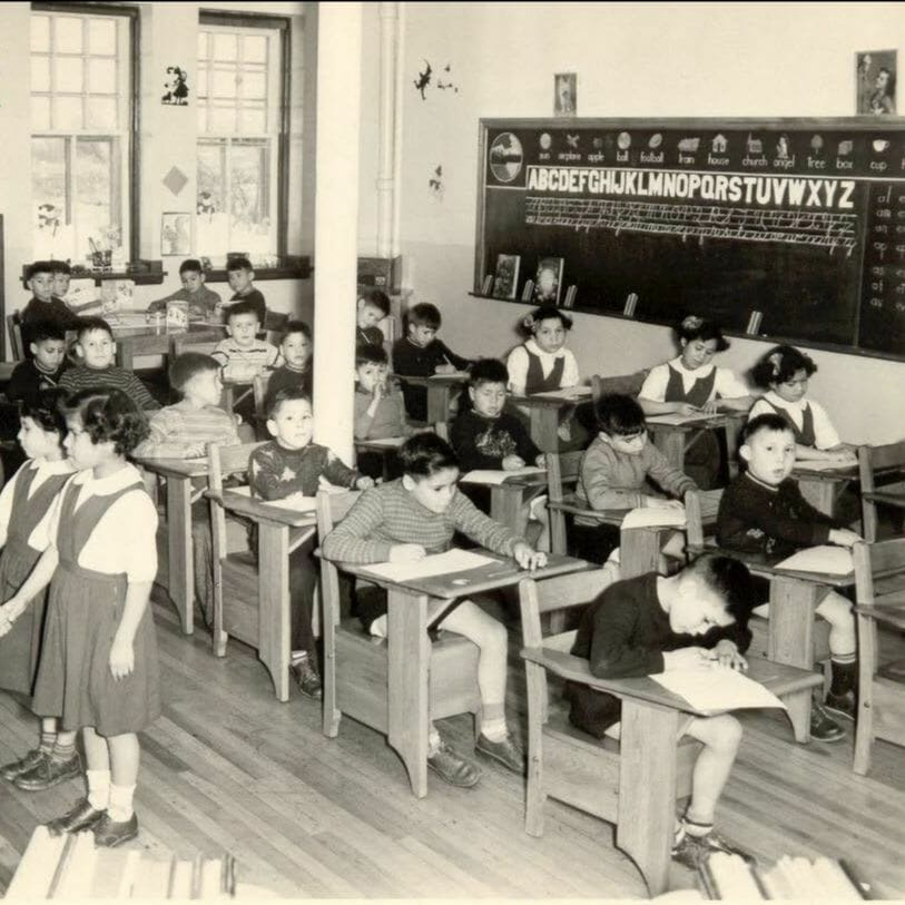 Students in sitting in desks in classroom